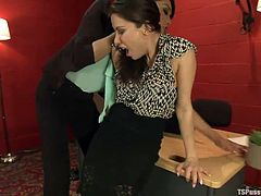 Aleksa Nicole was working hard one night when her transsexual boss Jessica Fox walked in to check on her. She bended her employee over the desk, spread her ass cheeks and licked her asshole. Then, the tranny boss made her faithful employee suck her big shemale dick.