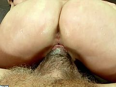 Ruined brunette harlow gives face sitting to ugly fat daddy before she inclines to his stiff cock to give a thorough blowjob in peppering sex video by 21 Sextury.