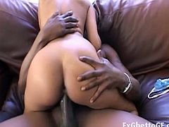Slender ebony whore rides giant black dick inside her cum starving throat. Soon, it's hard enough to stretch her wet pussy slit deep in this enchanting encounter.