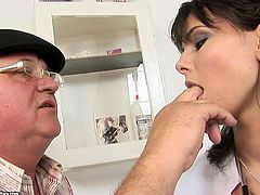 Pretty brunette nurse examines old fart in the medical center. During the appointment, horny grandpa seduces young skank for sex. She lets him eat her wet pussy.