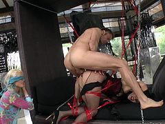 Samia and Blache are pretty and obedient, just the way Rocco like them! He brings the blonde babe Blache blindfolded and puts her, to lick Samia's ass. Then Rocco rubs his cock on that hot ass and fucks it a bit. He receives head from the pretty blonde, that remains blindfolded. Will he allow her to see?