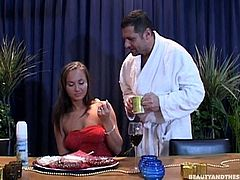 Slutty brunette in red dress is slim and rather hot. Wondrous cutie switches from eating the cake to sucking the dick of a man, who's much older than her. Horny gal is too addicted to cum and surely worth checking out in Beauty And The Senior sex clip.