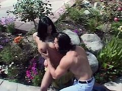Check out this hardcore video where a smoking hot brunette with a perfect body by the name of Belladonna is fucked outdoors in a patio on a hot summer day.