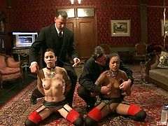 Ravishing chicks Krysta Kaos and Skin Diamond get bound by two horny men. The dudes pull the girls by the nipples and rub their smooth pussies with a vibrator.