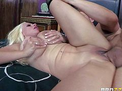 Holly Brooks is his dad new wife. This blonde milf with huge tits and bubble ass turns him on. She is ready to be fucked by horny young guy. Busty step-mom gets her smooth pussy boned and then takes it in the ass.