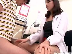 This Japanese student is complaining about a pain in his groin so he goes to see the school's nurse. She inspects his penis and determines that his balls are too full. Because she's such a nice nurse She plays with his dick and jerks him off so he will feel better.