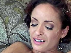 Mesmerizing busty brunette MILF sits on the couch between dudes that seduce her to steamy group sex. She lies on the couch with legs wide open to welcome tongue fuck before she gives a head to another fucker in gangbang sex video by Pornstar.
