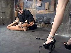 Petite Latina gets tied up and suspended. She also licks her mistress' toes. Later on she gets her pussy toyed with a vibrator.