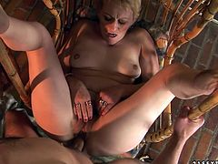 Ample short haired mature BBW sits in the swing with legs wide open while a sex hungry young dude pokes her vagina in missionary style and later fucks her hard in sideways position.