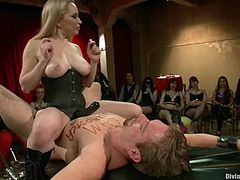 Here are some sexy mistresses Adien Starr and Lorelei Lee. Chicks are going to torture and humiliate this slave and then let other mistresses finish him!
