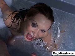 Busty red-haired MILF pleases he aroused hubby in the bathtub. They sit int he tub filled with smelly foam before she welcomes his strain dick for a blowjob until he cumshots on her face in pov sex video by Pornstar.