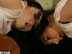 Angell and Melyssa are two bad bad school girls. Their teachers decided to teach them a lesson and punished them in their tight buttholes!