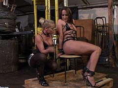 Devilish hooker Katja has caught dirty girl in her sex trap. She tied her up to the chair giving her no chance to avoid the punishment. Enjoy watching raunchy BDSM porn video.