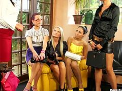 A lot of salty looking housewives attend a Mary Kay self-treatment consultation that turns into an insane lesbian sex orgy with pussy licking in steamy Tainster sex clip.
