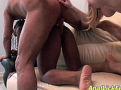 Voracious bitches that do not mind sharing one cock are fucking furiously in dirty FFM threesome. Ebony whore gets banged doggy style. Then Caucasian hooker licks dude's ass hole.