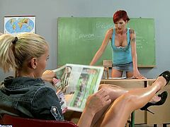 Kathia goes naughty and wild at the lesson in the college. She ties up her teacher to the table so redhead woman is unable to make a single move.