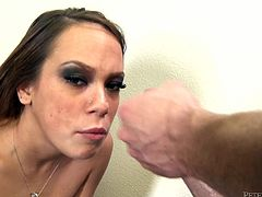 Sassy hooker plays with her throbbing wet vagina in the beginning of the session. Then she gets down on her knees sucking meat pole deepthroat. She is damn good in blowjob action so the guy produces guttural sound with joy. He cums right on her ugly face messing it up with huge facial cumshot.
