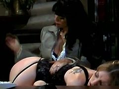 One boss female called her secretary to come to her office and to let her pull down her thong in order to do some hard spanking to her hot ass