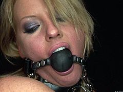 Horny dude knows that this bitchie booty blondie is fond of bondage. So he ties up slutty curvy nympho with ropes and makes her lie on the belly. Buxom hottie moans and he puts a gag into her mouth while smacking her smooth ass up.