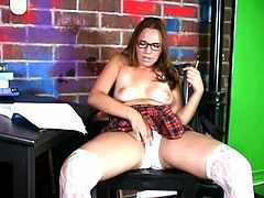 Naughty teen takes her sexy school uniform and makes hot solo show. She plays with her hot pussy in close-up scenes.