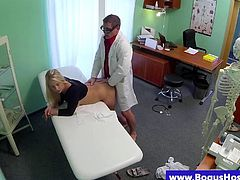 Bogus doctor pussy fucking patient doggystyle and she loves it