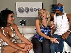 Persia Pele and her pretty GF are having fun with two nude studs. The women admire the men with their cock-sucking skills and then welcome their pricks in their hot pussies.