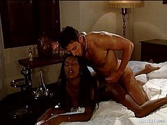 It's a very erotic and sensual session with an exotic ebony who after some blindfolded action gave her man a massage and began with the hot sex.