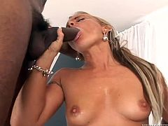 Sassy blonde hoe with small perky tits is seduced by three horny doctors. They thrust their cock up in the air so she sucks meat poles switching from one to another.