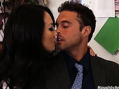 Exotic Asa Akira with hairless pussy gets a pussy stuffing in steamy sex action with Rocco Reed