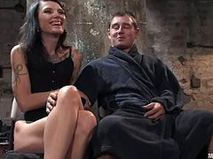 Amazing brunette mistress in black dress and high heels gets her toes licked. Later on she tortures guy's nipples with claws and ties him up.