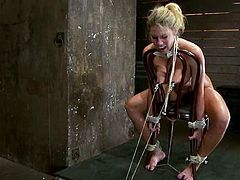 This juicy and smoking hot siren Charisma Cappelli gets naked and tied up on the chair. He dude sticks his cock in her mouth, hooking her ass!