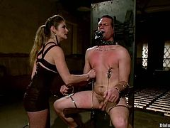 THis dude seems to be so hungry for pain that he stuns, when Felony gives him some pain! She bondages him and suspends him upside down!