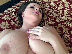 Meet Maggie, a whore with a pair of huge, soft breasts. She has a lot of love to give and David, has a lot of cock for her, too! The bitch plays with her breasts and lays on her back, until this guy approaches. He sucks her nipples and then, she sucks his cock. Are we gonna see those melons covered with cum?