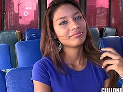 Sexy chick Liz Paola is having fun with some dude in a bus. She pleases him with a nice blowjob and then they fuck in cowgirl and other positions.
