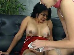 Mika Tan gets bound and tormented indoors. Some girl attaches wires to Mika's tits and then rips her pussy apart with some wired toys.
