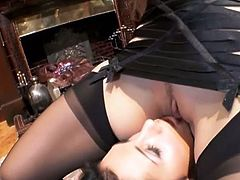 Gorgeous lesbian babes Euphrat and Adriana get kinky. They perform some pussy toying in hot bdsm style.