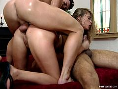 See all the fun the dazzling euro blonde babe with big natural tits and bit nipples Krystal De Boor has in this MMF threesome with anal sex.