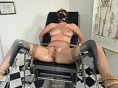 This slender chick is being amazed by a set of torturing methods. Well, she gets tied up and her legs are wide open. Then she gets a fucking machine in her twat together with tiny wires!