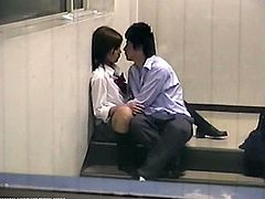 Japanese school couple fuck outdoors