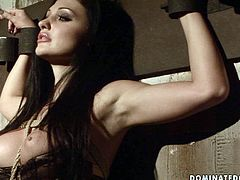 Buxom harlot Aletta Ocean is the kind of girl that needs to be punished hard! Horny bondage master stimulates her juicy pussy with vibrator making her moan with pleasure.
