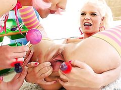 Katie Angel doing lewd things with Jayda Diamonde in lesbian action