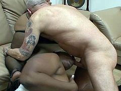 White cock for two ebony whores in this interracial threesome encounter. He's one lucky dude as he gets to lick some black pussy and gets some horny heads.