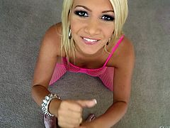 Blonde whore Laela is eager to get fucked. She squeezes her big round boobs and inserts her whole hand in her mouth. Then, the tramp kneels with pleasure and grabs my hard cock. She rubs it and opens her pretty mouth to give me one hell of a head. Should I quench her thirst with a big load of spunk?