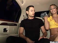 Kinky blonde hooker Natalia Rossi is hell seductive girl. She is craving for hardcore threesome fuck so she takes off her clothes right in the car while on the way to the hotel. She can't wait to fuck.