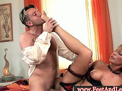 This hottie Tiffany Rousso doing footjob but before that she starts off with a nice hardcore fucking where you will see her getting this big cock in her pink hole all nice and wet right before she gives one hell of a footjob that you will totally dig.