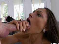 Watch this babe teasing you with her big tits before she masturbates with a dildo and has her tight cunt drilled by a big cock.