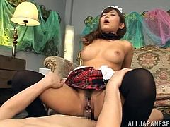 Adorable Japanese chick gets her vagina and boobs licked well. Later on she gets fucked hard and deep in different poses.