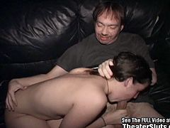 Amateur brunette fucked by horny dads inside this filthy theater. She was seduced to do something naughty today for cash and she enjoys the gang banging attention she gets.