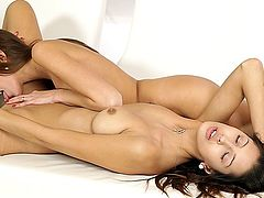 Two hot lesbians, Kitty Jane and Silvie Deluxe, from Nubiles,  go at each other in this hot scene