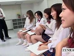 Rowdy Japanese schoolgirls in skirts shorter than regulation standards sit with sketch pads during an abnormal art class led by a malleable milf teacher with an nefariously lewd agenda of CFNM embarrassment as she concurs with students that a nu